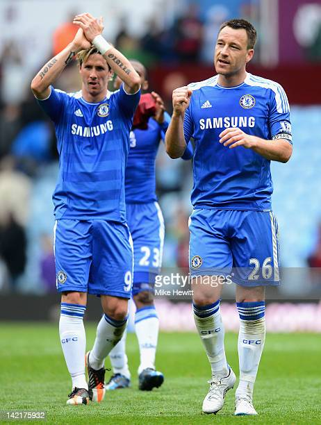 John Terry of Chelsea celebrates victory with Fernando Torres during the Barclays Premier League match between Aston Villa and Chelsea at Villa Park...