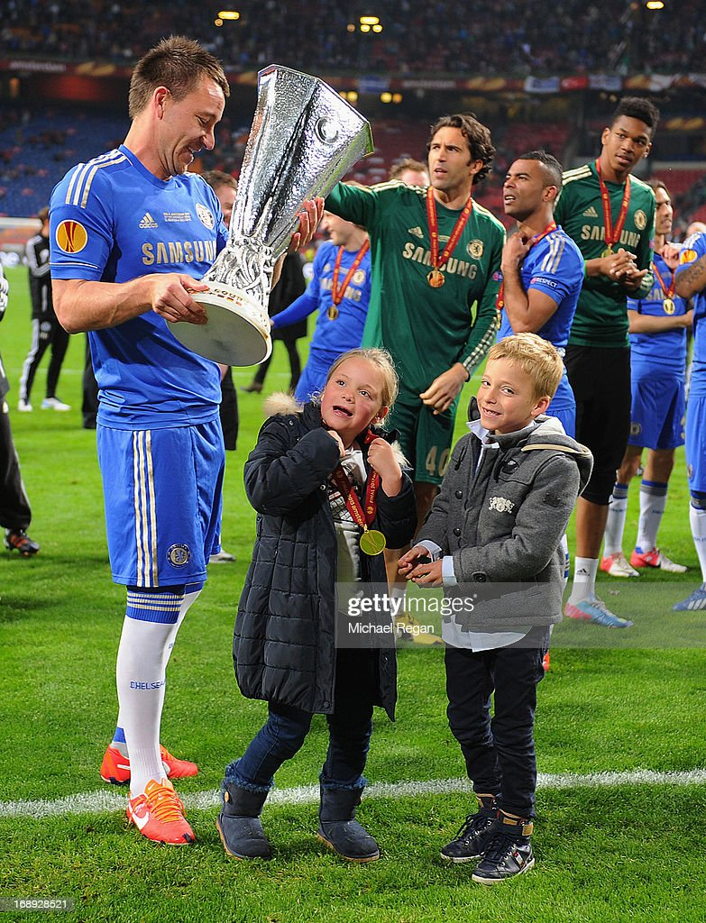 John Terry of Chelsea celebrates with his children Georgie John Terry and Summer Rose Terry during the UEFA Europa League Final between SL Benfica and Chelsea FC at Amsterdam Arena on May 15, 2013 in Amsterdam, Netherlands.