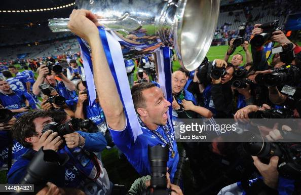 John Terry of Chelsea celebrates with the trophy after their victory in the UEFA Champions League Final between FC Bayern Muenchen and Chelsea at the...