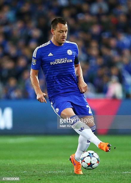 John Terry of Chelsea controls the ball during the international friendly match between Sydney FC and Chelsea FC at ANZ Stadium on June 2 2015 in...
