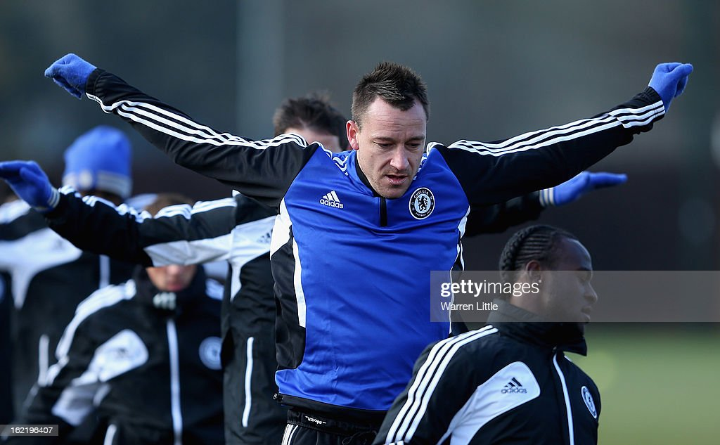 John Terry of Chelsea during a training session at Cobham training ground on February 20, 2013 in Cobham, England.