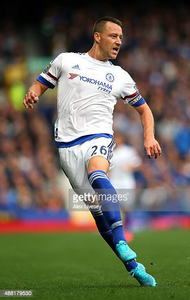 John Terry of Chelsea during the Barclays Premier League match between Everton and Chelsea at Goodison Park on September 12 2015 in Liverpool United...