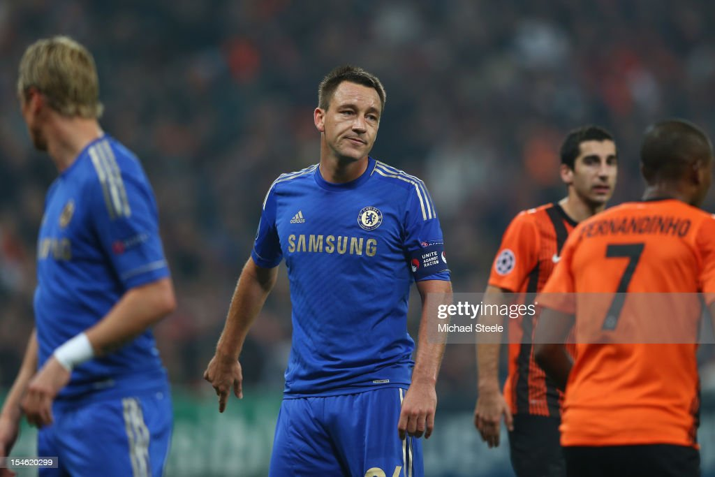 John Terry (C) of Chelsea during the UEFA Champions League Group E match between Shakhtar Donetsk and Chelsea at the Donbass Arena on October 23, 2012 in Donetsk, Ukraine.