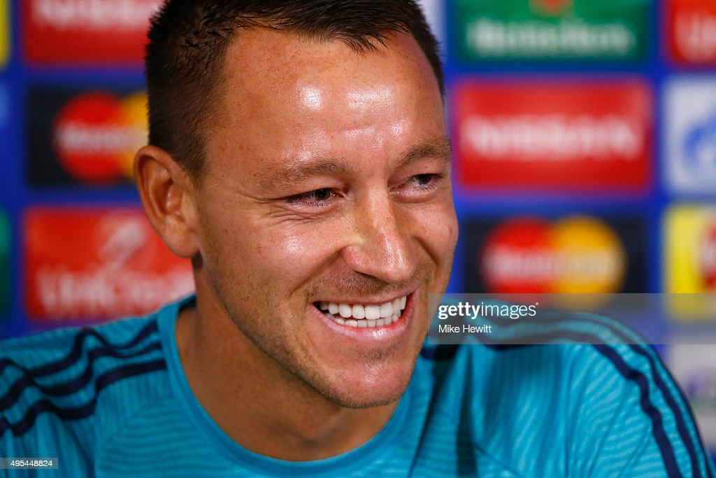 John Terry of Chelsea faces the media during a Chelsea press conference, ahead of the UEFA Champions League Group G match between Chelsea and Dynamo Kiev, at Chelsea Training Ground on November 3, 2015 in Cobham, England.
