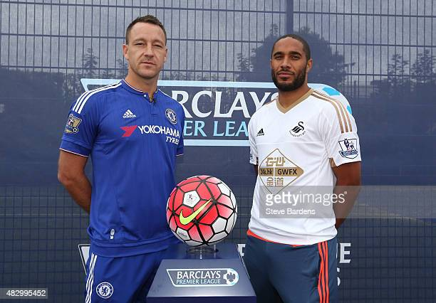 John Terry of Chelsea FC and Ashley Williams of Swansea City AFC pose for a photograph during the official Premier League season launch media event...