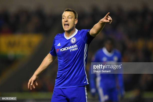 John Terry of Chelsea gives his team instructions during The Emirates FA Cup Fifth Round match between Wolverhampton Wanderers and Chelsea at...