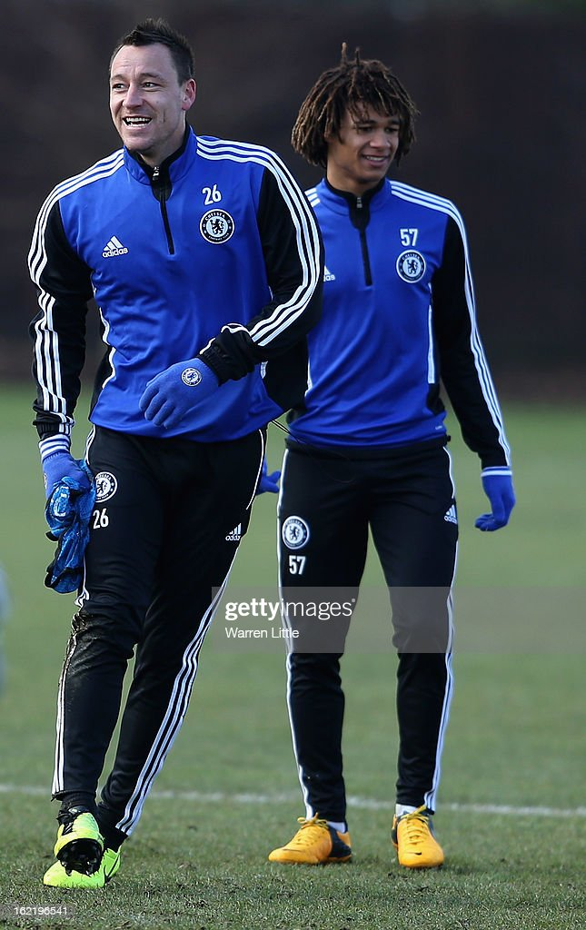 John Terry of Chelsea in action during a training session at Cobham training ground on February 20, 2013 in Cobham, England.