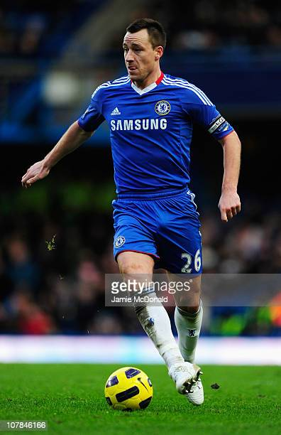 John Terry of Chelsea in action during the Barclays Premier League match between Chelsea and Aston Villa at Stamford Bridge on January 2 2011 in...