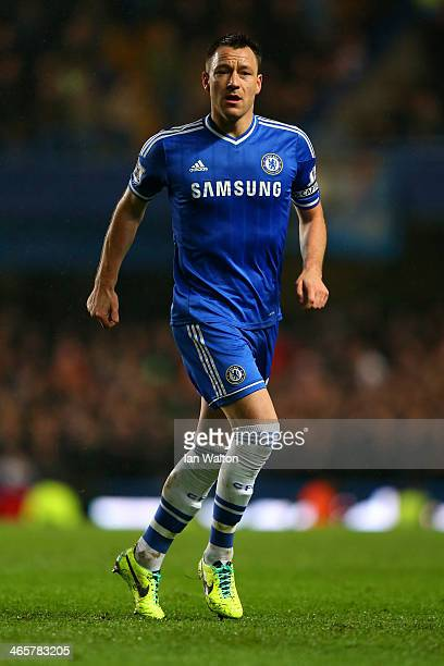 John Terry of Chelsea in action during the Barclays Premier League match between Chelsea and West Ham United at Stamford Bridge on January 29 2014 in...