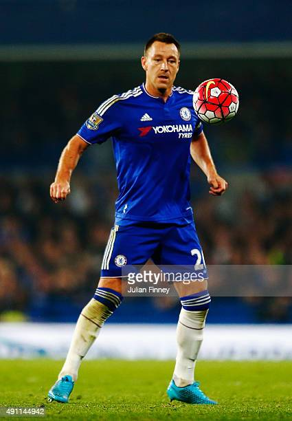 John Terry of Chelsea in action during the Barclays Premier League match between Chelsea and Southampton at Stamford Bridge on October 3 2015 in...
