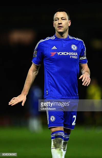 John Terry of Chelsea in action during the Barclays Premier League match between Watford and Chelsea at Vicarage Road on February 3 2016 in Watford...