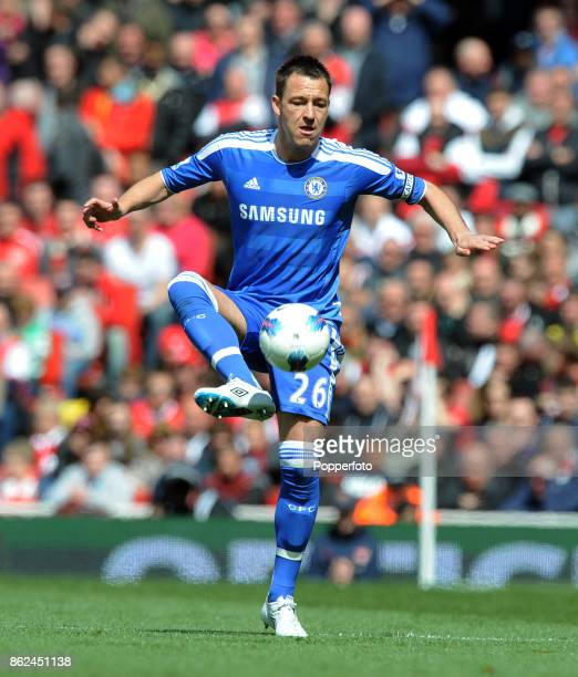 John Terry of Chelsea in action during the Barclays Premier League match between Chelsea and Arsenal at the Emirates Stadium on April 21 2012 in...