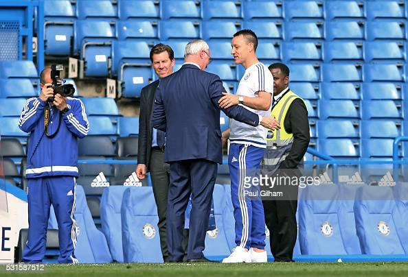 John Terry of Chelsea in conversation with Claudio Ranieri Manager of Leicester City during the Barclays Premier League match between Chelsea and...