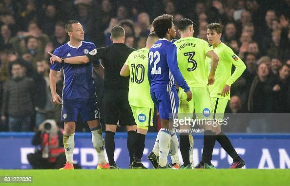 John Terry of Chelsea is sent off by referee Kevin Friend during The Emirates FA Cup Third Round match between Chelsea and Peterborough United at...
