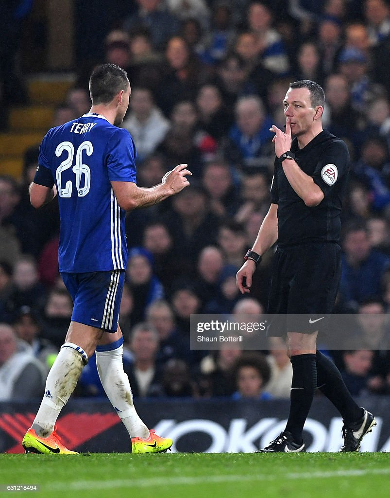 John Terry of Chelsea is shown a red card by referee Kevin Friend during The Emirates FA Cup Third Round match between Chelsea and Peterborough United at Stamford Bridge on January 8, 2017 in London, England.