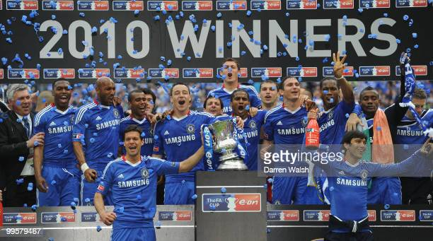 John Terry of Chelsea leads the celebrations with his team after winning the FA Cup sponsored by EON Final match between Chelsea and Portsmouth at...