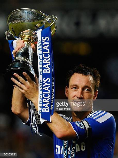 John Terry of Chelsea lifts the trophy after winning the Asia Trophy final match against Aston Villa at the Hong Kong Stadium on July 30 2011 in So...