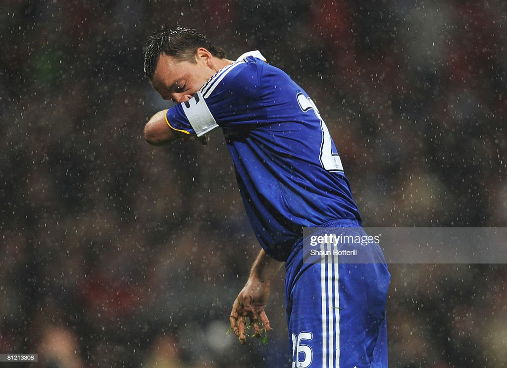 John Terry of Chelsea looks dejected as he misses a penalty kick in the shoot-out during the UEFA Champions League Final match between Manchester United and Chelsea at the Luzhniki Stadium on May 21, 2008 in Moscow, Russia.