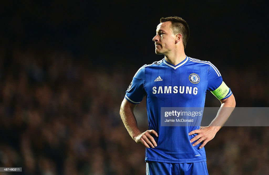 <a gi-track='captionPersonalityLinkClicked' href=/galleries/search?phrase=John+Terry&family=editorial&specificpeople=171535 ng-click='$event.stopPropagation()'>John Terry</a> of Chelsea looks dejected during the UEFA Champions League semi-final second leg match between Chelsea and Club Atletico de Madrid at Stamford Bridge on April 30, 2014 in London, England.