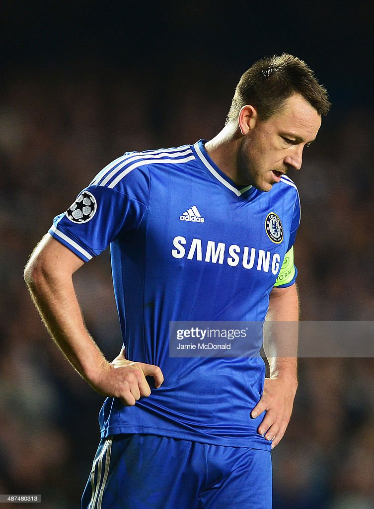John Terry of Chelsea looks dejected during the UEFA Champions League semi-final second leg match between Chelsea and Club Atletico de Madrid at Stamford Bridge on April 30, 2014 in London, England.