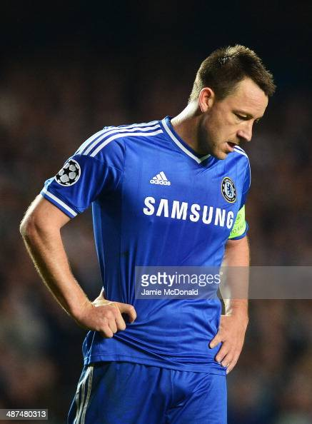 John Terry of Chelsea looks dejected during the UEFA Champions League semifinal second leg match between Chelsea and Club Atletico de Madrid at...