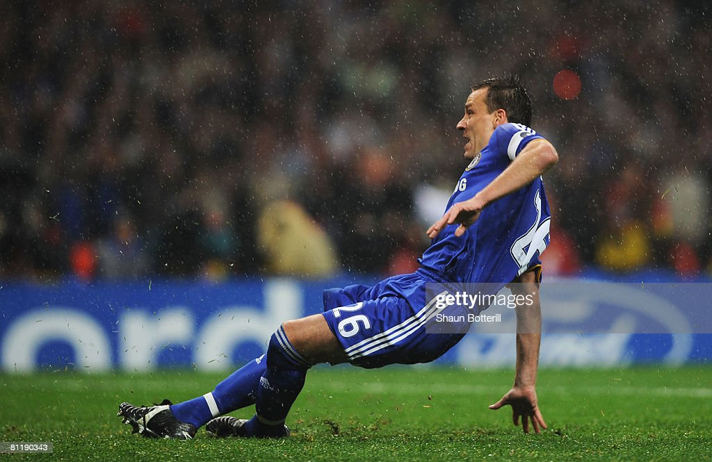 John Terry of Chelsea misses a penalty during the UEFA Champions League Final match between Manchester United and Chelsea at the Luzhniki Stadium on May 21, 2008 in Moscow, Russia.