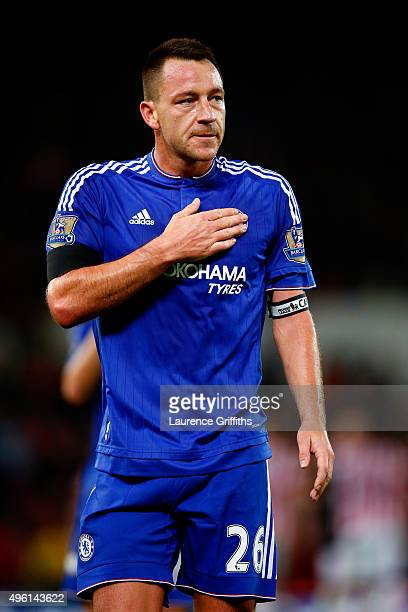John Terry of Chelsea reacts after his team's 01 defeat in the Barclays Premier League match between Stoke City and Chelsea at Britannia Stadium on...