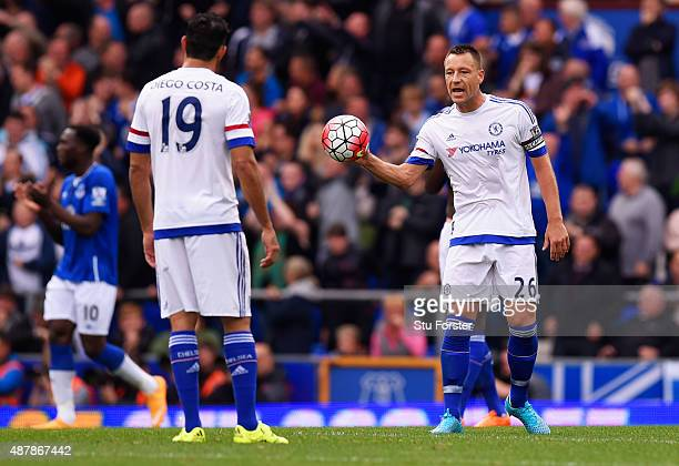 John Terry of Chelsea reacts after the second Everton goal by Steven Naismith of Everton during the Barclays Premier League match between Everton and...