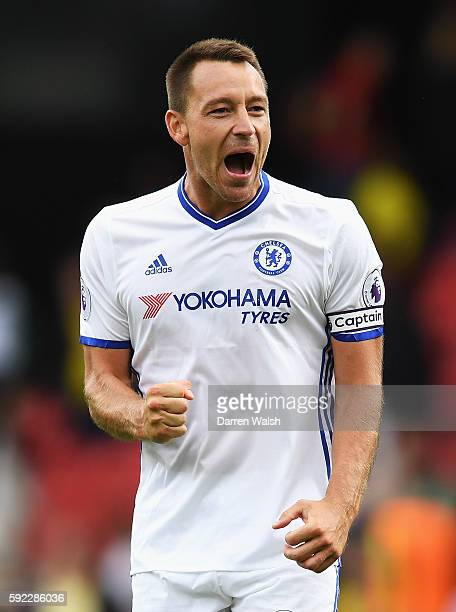 John Terry of Chelsea reacts during the Premier League match between Watford and Chelsea at Vicarage Road on August 20 2016 in Watford England