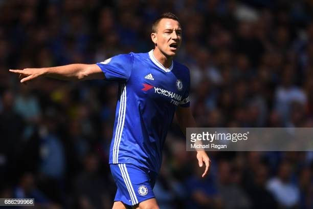 John Terry of Chelsea reacts during the Premier League match between Chelsea and Sunderland at Stamford Bridge on May 21 2017 in London England