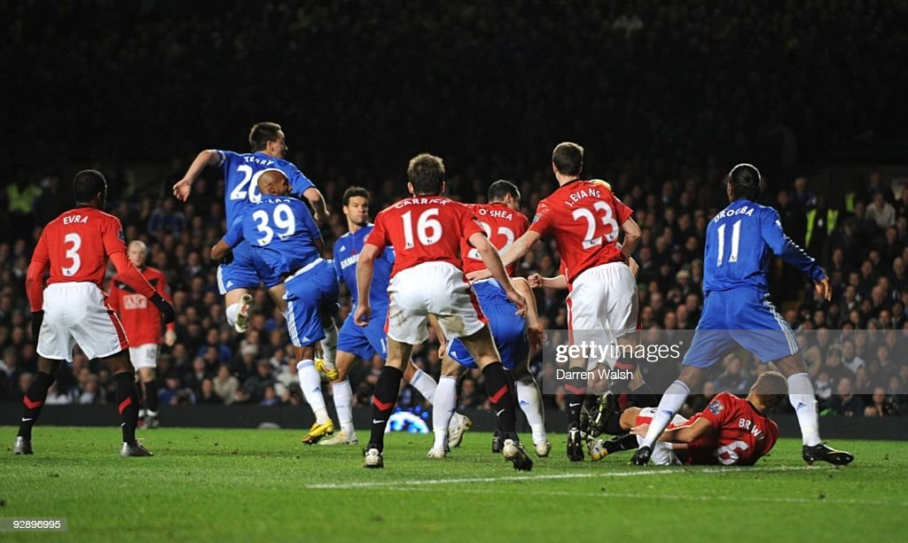 John Terry of Chelsea rises up to head the winning goal during the Barclays Premier League match between Chelsea and Mancester United at Stamford Bridge on November 8, 2009 in London, England.