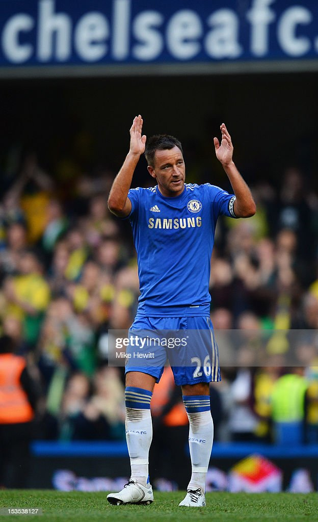 <a gi-track='captionPersonalityLinkClicked' href=/galleries/search?phrase=John+Terry&family=editorial&specificpeople=171535 ng-click='$event.stopPropagation()'>John Terry</a> of Chelsea salutes the crowd after the Barclays Premier League match between Chelsea and Norwich City at Stamford Bridge on October 6, 2012 in London, England.