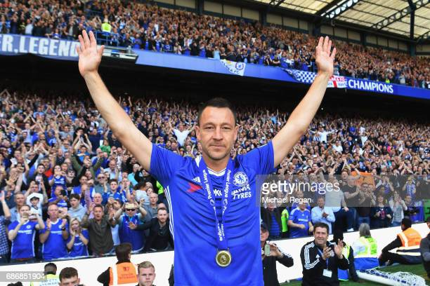John Terry of Chelsea salutes the crowd after the Premier League match between Chelsea and Sunderland at Stamford Bridge on May 21 2017 in London...