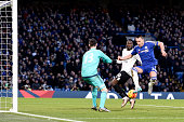 John Terry of Chelsea scores an own goal during the Barclays Premier League match between Chelsea and Everton at Stamford Bridge on January 16 2016...