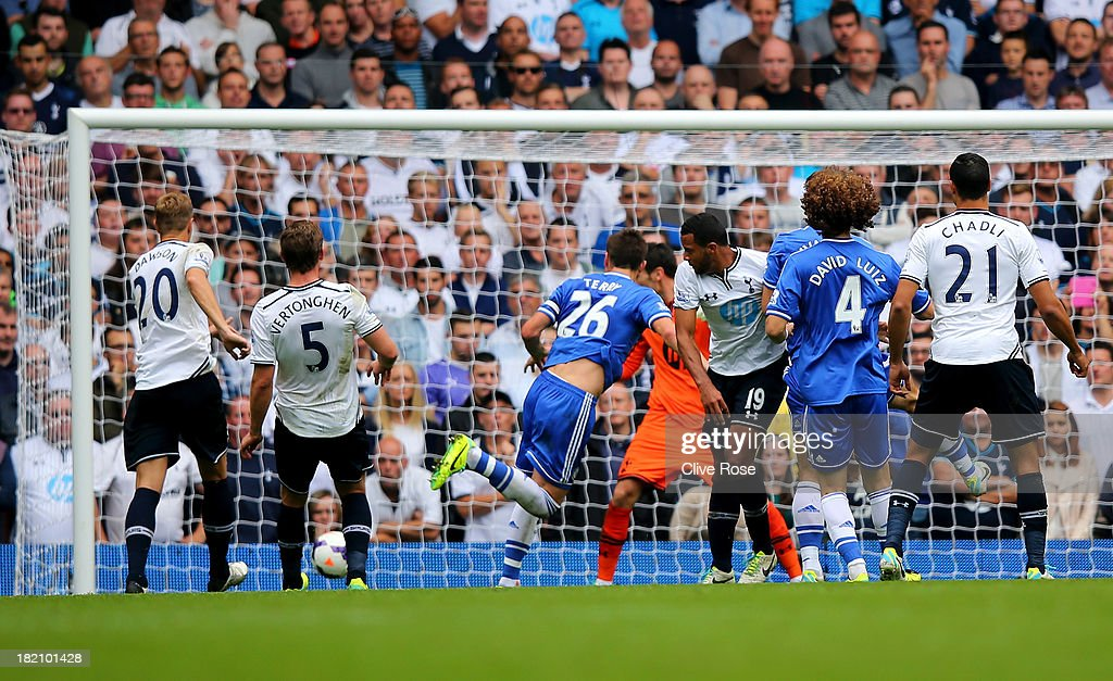 <a gi-track='captionPersonalityLinkClicked' href=/galleries/search?phrase=John+Terry&family=editorial&specificpeople=171535 ng-click='$event.stopPropagation()'>John Terry</a> of Chelsea (26) scores their first goal with a header during the Barclays Premier League match between Tottenham Hotspur and Chelsea at White Hart Lane on September 28, 2013 in London, England.