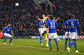 John Terry of Chelsea scores their first goal with a header uring the UEFA Champions League Group G match between FC Schalke 04 and Chelsea FC at...