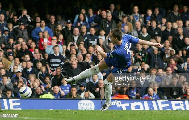 John Terry of Chelsea scores their third goal during the Barclays Premiership match between Chelsea and West Ham United at Stamford Bridge on April 9...