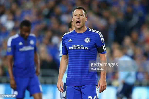 John Terry of Chelsea shouts at the assistant referee during the international friendly match between Sydney FC and Chelsea FC at ANZ Stadium on June...