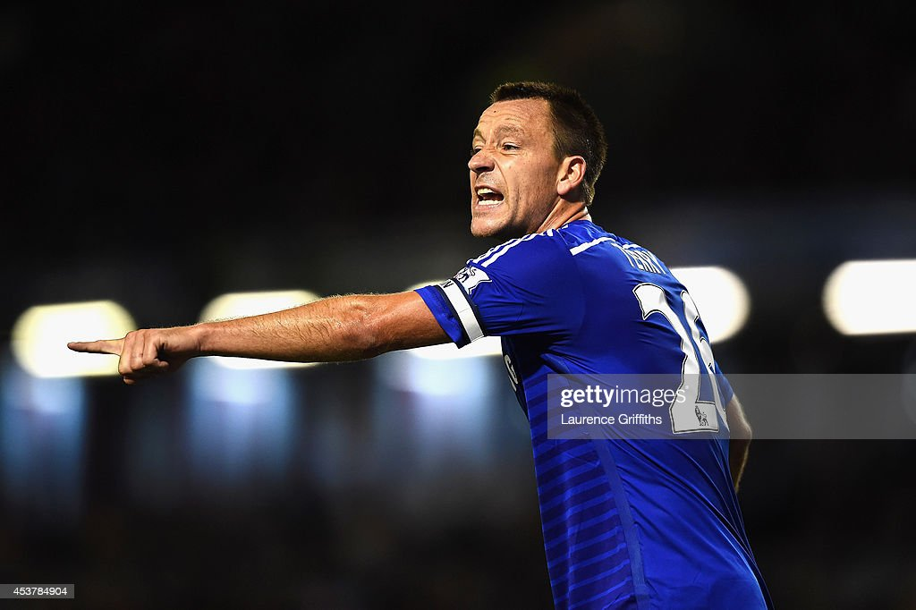 John Terry of Chelsea shouts instructions during the Barclays Premier League match between Burnley and Chelsea at Turf Moor on August 18, 2014 in Burnley, England.