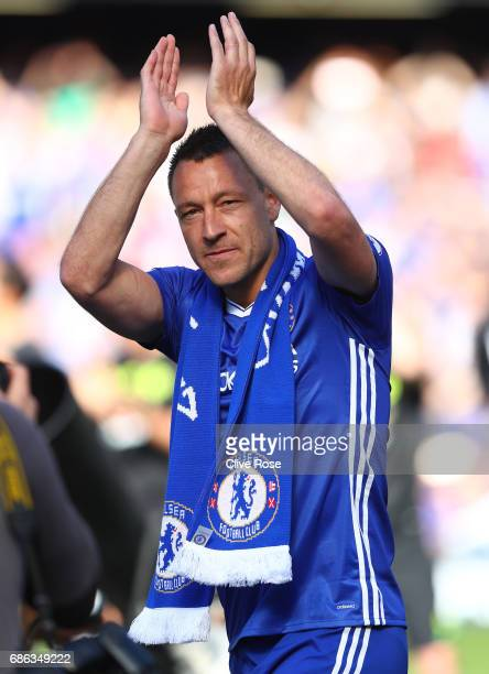 John Terry of Chelsea shows appreciation to the fans after the Premier League match between Chelsea and Sunderland at Stamford Bridge on May 21 2017...