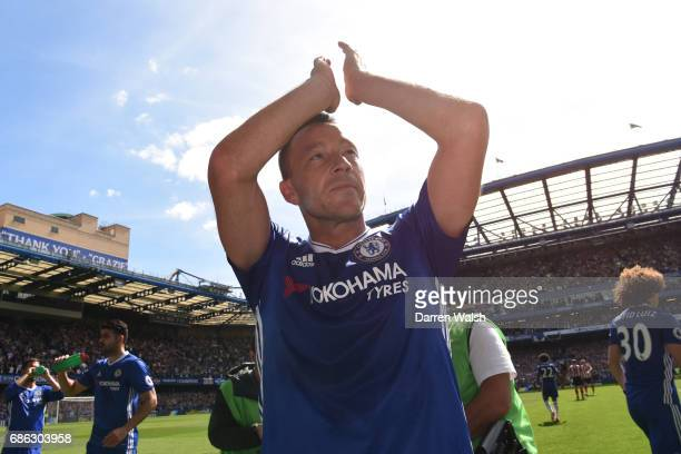 John Terry of Chelsea shows appreciation to the fans as he is subbed off during the Premier League match between Chelsea and Sunderland at Stamford...