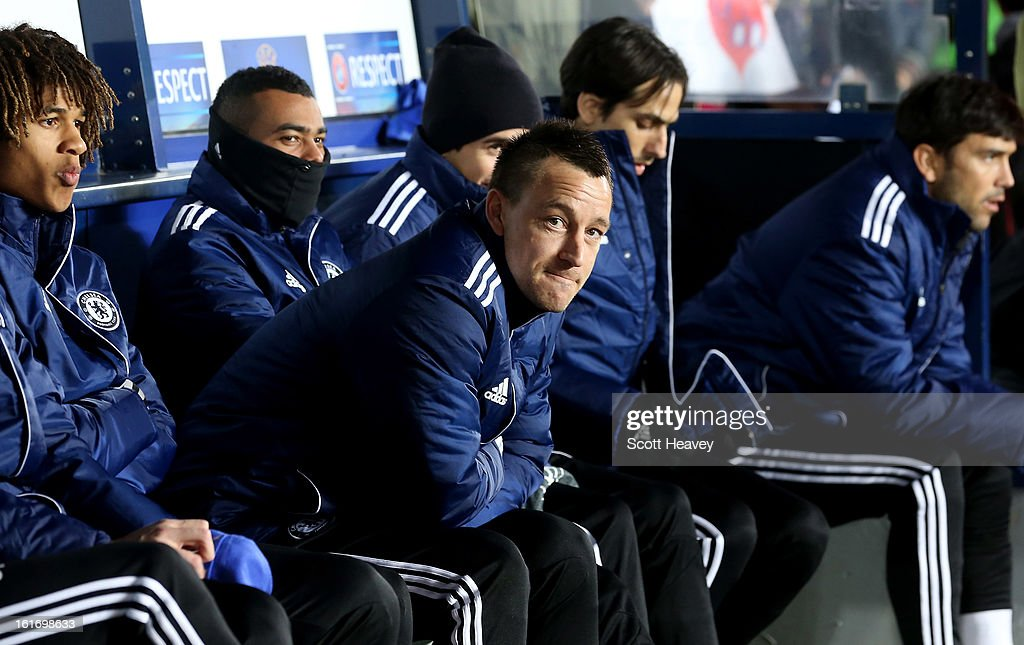 <a gi-track='captionPersonalityLinkClicked' href=/galleries/search?phrase=John+Terry&family=editorial&specificpeople=171535 ng-click='$event.stopPropagation()'>John Terry</a> of Chelsea sits on the bench during the UEFA Europa League match between AC Sparta Praha and Chelsea on February 14, 2013 in Prague, Czech Republic.