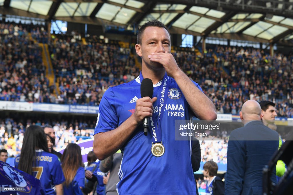 John Terry of Chelsea speaks to the crowd after the Premier League match between Chelsea and Sunderland at Stamford Bridge on May 21, 2017 in London, England.