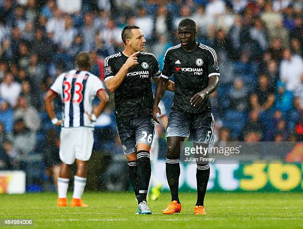 John Terry of Chelsea talks to Kurt Zouma of Chelsea during the Barclays Premier League match between West Bromwich Albion and Chelsea at The...