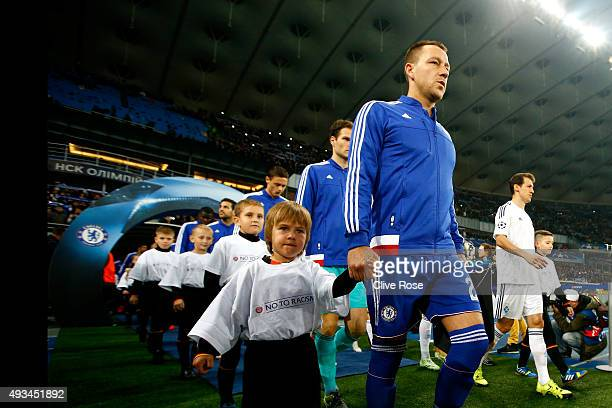 John Terry of Chelsea walks out prior to the UEFA Champions League Group G match between FC Dynamo Kyiv and Chelsea at the Olympic Stadium on October...