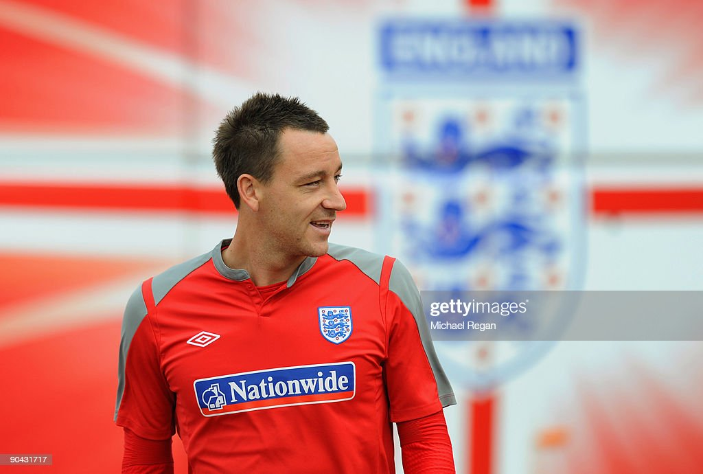 John Terry of England walks out to the England training session at London Colney on September 8, 2009 in St Albans, England.