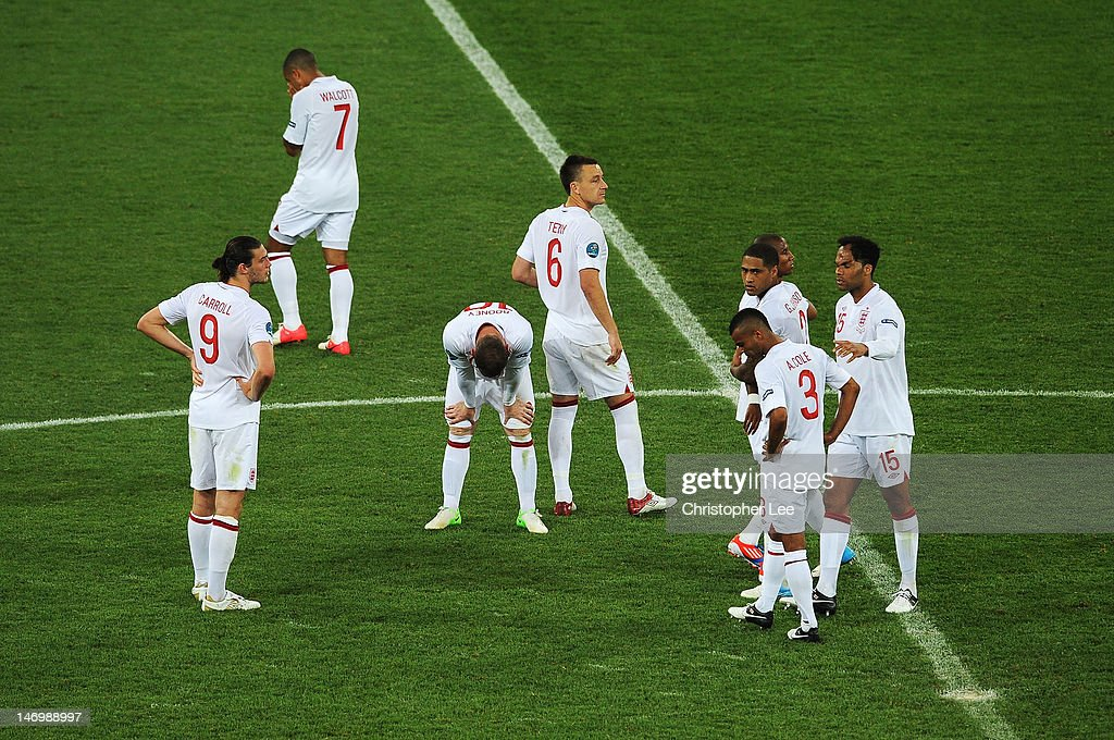 John Terry of England (C) with team-mates after the UEFA EURO 2012 quarter final match between England and Italy at The Olympic Stadium on June 24, 2012 in Kiev, Ukraine.
