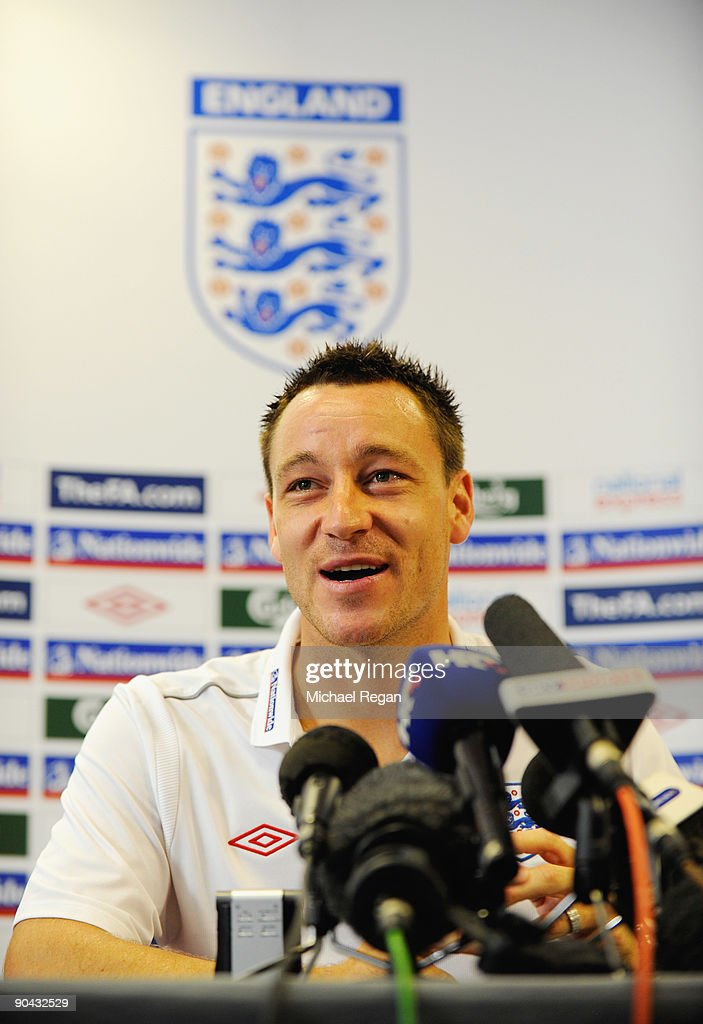 John Terry talks to the media during the England Press Conference at London Colney on September 8, 2009 in St Albans, England.