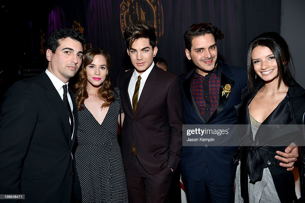 John Terzian, actress Christa B. Allen, singer Adam Lambert, Markus Molinari and Alice Gretchen joined President Bill Clinton and Kobe Bryant at the grand opening of STEP UP ON VINE on January 14, 2013 in Los Angeles, California.