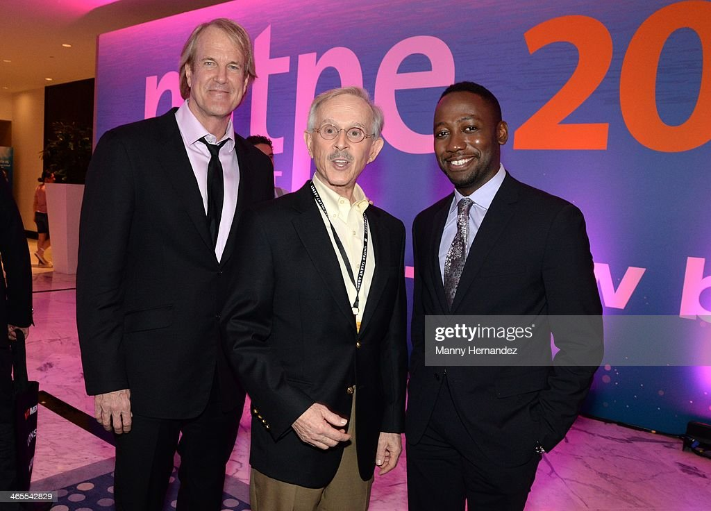 John Tesh, Dickie Smothers and Lamorne Morris are sighted at NATPE 2014 in Miami Beach at Fontainebleau Miami Beach on January 27, 2014 in Miami Beach, Florida.